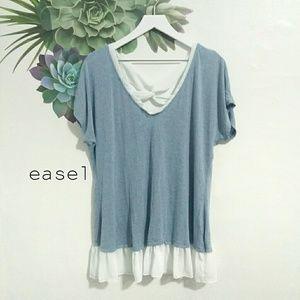 Easel Blue Stretch Chiffon Trim Short Sleeve Top
